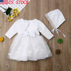 US Baby Girls Ivory Lace Party Christening Dress Bonnet Jacket 0 3 6 9 18 Months
