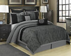 8 Piece Wisteria Floral Pattern Jacquard Patchwork Black and Gray Comforter Set  image