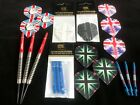 23g or 25g Tungsten Dart Great Britain Gift Set 5 Sets of Flights 3 Sets of Stem