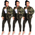 Women Green Camouflage long Sleeve Coats Glam Striped Sequin Fashion Jacket Fall