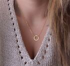 Vintage Women Simple Choker Chain Necklace Ring Circle Leaf Pendant Jewelry