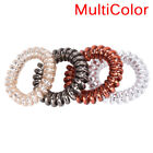 1x/5x Rubber Telephone Wire Hair Ties Spiral Slinky Hair Head Elastic Bands LE