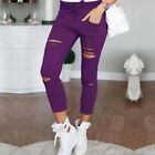 Women Ripped Distressed Skinny High Waisted Denim Pants Jeans Trousers Leggings