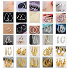 Exaggerated Big Round Ear Stud 925 Silver Women Lady Hoop Earrings Jewelry Gifts