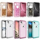Fits Apple iPhone XR Clear Transparent & Glitter Liquid Shockproof Armor Case