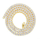 Hip Hop Shine Iced Out Rhinestone Yellow Gold Plated Tennis Chain Mens Necklaces
