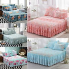 Floral Printed Sheet Cover Plant Cashmere Bed Sheet Coverlet+Pillowcase Warm Set image