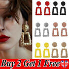 New Square Statement Metal Chunky Texture Geometric Earrings Colours Fashion Bk