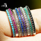 925 Silver Multi-color AAAAA Sapphire Birthstone Engagement Wedding Brand Ring image