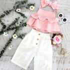 US 3PCS Toddler Kids Baby Girl Ruffle Sling Tops Pants Leggings Outfits Sunsuit
