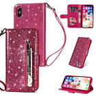 For Samsung Galaxy Phones Leather Wallet Glitter Bling Zipper Stand Case Cover