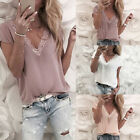 Womens Summer Loose Lace V-Neck Tops Short Sleeve Blouse Casual Tank Top T-Shirt