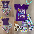 US Kids Girls Striped Set Summer Ruffles T-shirt+Flare Pants Outfit Clothes 1-6T