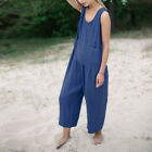 UK 8-24 Women Sleeveless Dungaree Long Jumpsuits Playsuits Cotton Overalls Plus