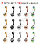 Belly Bars Navel Button Bar Piercing Jewellery Ring Surgical Steel Crystal Ball