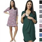 Happy Mama Women's Maternity Nursing Striped Nightshirt Open Front Top 007p