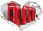 Red London Telephone Booths 3d-look Look Heart Wall Tattoo Stickers