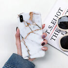 For iPhone 8 Plus Marble Case Shockproof Soft TPU Bling Protective Slim Cover
