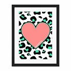 Leopard+Coral+And+Green+Beautiful+Reverse+Large+Framed+Art+Print+Wall+Poster