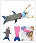Adult Kid Shark Mouth Mermaid Tail Fleece Blanket Snuggle Sleeping Bag Costume