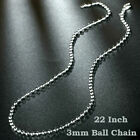 "16""-24"" Mens Womens 925 Sterling Silver 3mm Thick Ball Bead Chain Necklace"