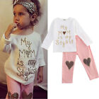 US Seller Toddler Kids Baby Girl Outfit Clothes T shirt Top+Long Pants Trousers