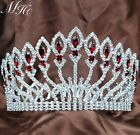 Women Queen Large Full Crystal Crowns Tiaras Wedding Bridal Pageant Silver / Red