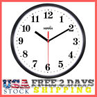 Black Wall Clock  Silent Non Ticking - 10 Inch Size Round Easy to Read Home NEW