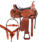 Used Trail Saddle 16 15 17 18 Beautiful Western Leather  Hand Carved Horse Tack