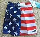Laguna Star-print & Stripes Swim Trunks, Size  5/6