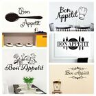 Home Decor Dining Room Wall Stickers Letters Decals Kitchen Mural Bon Appetit