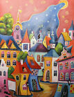 Modern Hand Painted Cityscape Prague Oil painting Wall art Decor On Canvas prg68