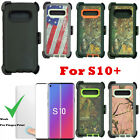 For Samsung Galaxy S10+ Plus Defender Camo Case W/ Screen & Clip Fits OtterBox