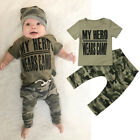 USA Newborn Toddler Infant Baby Boy Girl Clothes T-shirt Tops+Camo Pants Outfits