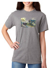 USA Made Bayside T-shirt Country Covered Bridge Horse Buggy Fall Autumn