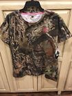 Ladies Mossy Oak Break-Up Country Short Sleeve Camouflage T-Shirt Pink Accent