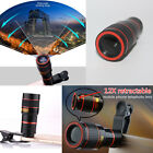 NEW 12X Zoom Optical Clip-on HD Telescope Phone Camera Lens For iPhone Samsung