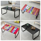 Rectangle Glass Coffee Table Tempered Glass Top Lower Shelf Storage Mdf Leg