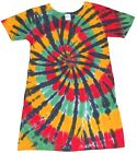 Girls TIE DYE DRESS short sleeve Rasta Spiral 2T-12 reggae hippie gypsy boho