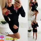 Women Embroidered Cold Shoulder Bodycon Dress Long Sleeve Cocktail Party Dress
