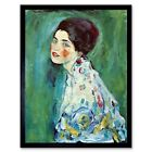 Gustav Klimt Portrait Of A Lady Old Master Painting 12X16 Inch Framed Art Print
