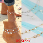 Women Double Ankle Bracelet 925 Silver Anklet Foot Jewelry Girl's Beach Chain US