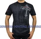 Affliction Wicked A6963 Men`s New Short Sleeve Graphic Cross Black T-shirt