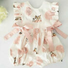 US Fashion Sweet Newborn Baby Girl Deer Romper Bodysuit Jumpsuit Clothes Outfits