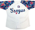 Custom Baseball Jersey Special design/Blue leaves sleeve/White/Any size/