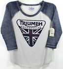 Lucky Brand Triumph Motorcycles Worn Felt Logo Baseball 3/4 Slv Women's T-Shirt $16.99 USD on eBay