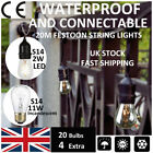 20m S14/S14 LED Festoon String Lights Garden Wedding Party Outdoor Lighting Lamp