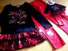 "WHAT A DOLL""LOVE, PEACE"" 2 PC RED/BLACK PARTY LEGGINGS SET  MATCHING DOLL SET"