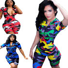 Внешний вид - 🔥Women Short Sleeves Camouflage Print Zipper Bodycon Club Sport Short Jumpsuit