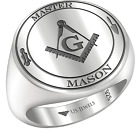 New Men's Blue Lodge 0.925 Sterling Silver Freemason Masonic Open Back Ring